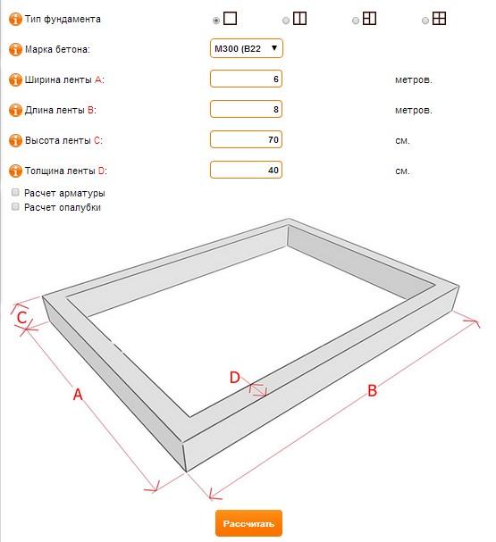 Калькулятор ленточного фундамента онлайн